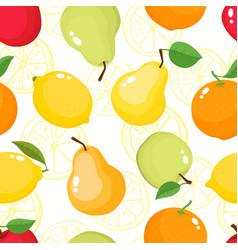 pattern with pears apples oranges lemons vector image