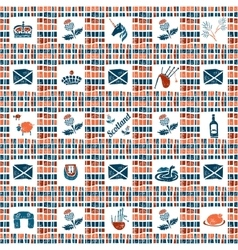 Plaid fabric seamless pattern big scottish set vector