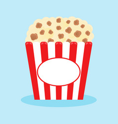 popcorn popping in a red striped box cinema movie vector image
