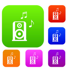 portable music speacker set collection vector image