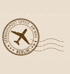 Postal stamp round brown postmark with airplane vector