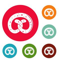 Pretzel icons circle set vector