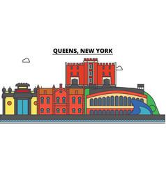 Queens new york city skyline architecture vector
