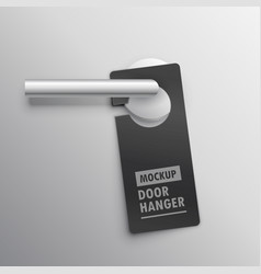 realistic door hander mockup with handle vector image