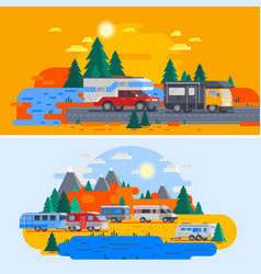 recreational vehicles composition vector image