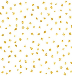 Seamless gold painted autumn leaves vector image