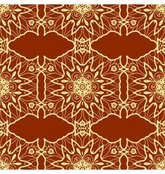 Seamless Orientile Style Print Yellow Lines on Red vector
