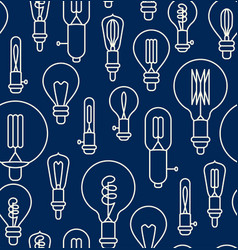 Seamless pattern made of linear light bulbs vector