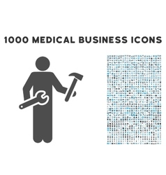 Serviceman Icon with 1000 Medical Business Symbols vector