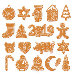 set christmas gingerbread cookies figures vector image
