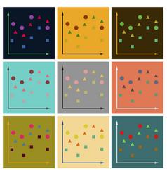 Set of flat icons on stylish background geometric vector