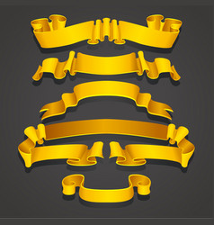 Set of realistic yellow and golden ribbons vector