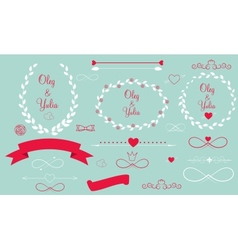 Set of Wedding Graphic Elements with Arrows Hearts vector