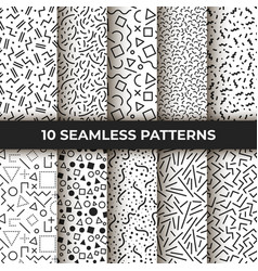 Set ten seamless patterns retro memphis vector