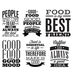 set vintage typographic food quotes to menu vector image
