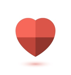 Simple red paper heart icon vector