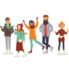 skating hipsters characters vector image