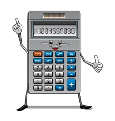 Solar powered calculator cartoon character vector