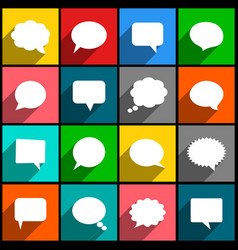 Speech bubbles icons with long shadow vector