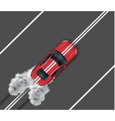 sports car driving along dividing median vector image