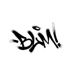 Sprayed blm font graffiti with overspray in black vector