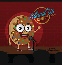 Stand up comedy donut open mic vector