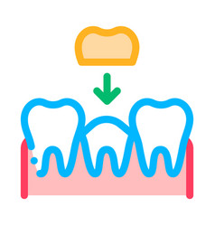stomatology tooth crown thin line sign icon vector image