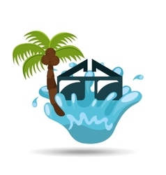 Sunglasses water splash palm summer vacation vector