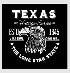Texas - vintage typography with a eagle head vector