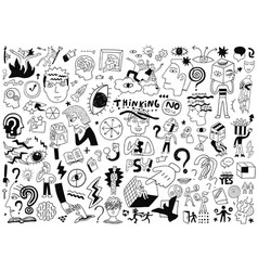 thinking psychology sick people -big doodle set vector image