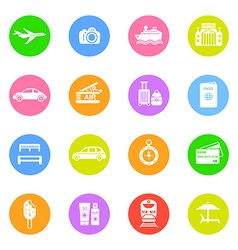 Travel icons in color circles vector