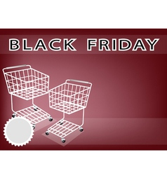 Two Shopping Cart on Black Friday Background vector image