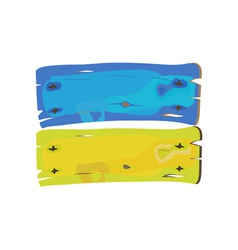Ukranian flag painted on wooden planks isolated vector