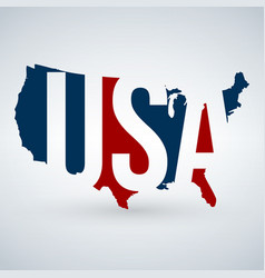 Us logo or icon with usa letters across map vector