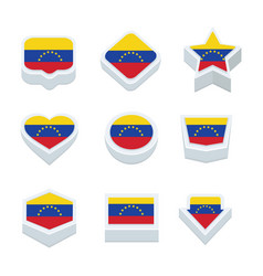 Venezuela flags icons and button set nine styles vector