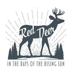 vintage hand drawn deer emblem vector image