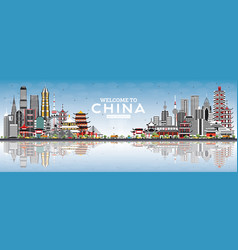 Welcome to china skyline with gray buildings blue vector