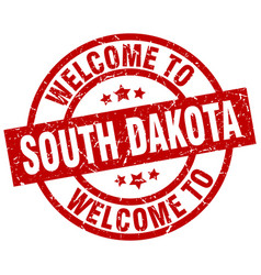 Welcome to south dakota red stamp vector