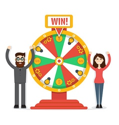 Wheel of fortune with man and woman vector image