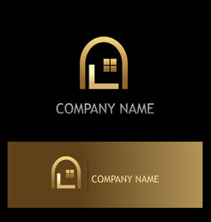 window home gold logo vector image