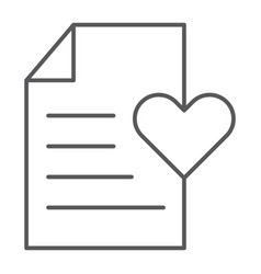 wish list thin line icon paper and document vector image