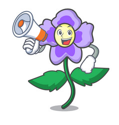 With megaphone pansy flower character cartoon vector