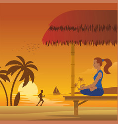 woman meditation at beach vector image
