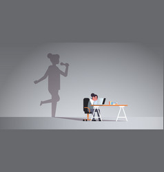 Woman sitting at workplace using laptop shadow of vector