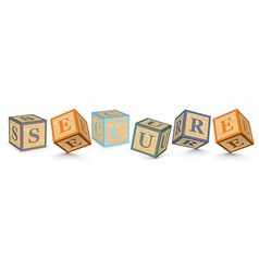 Word SECURE written with alphabet blocks vector image