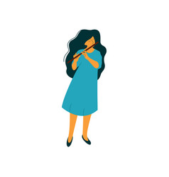Young woman playing flute female musician flutist vector