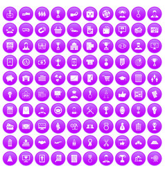 100 business career icons set purple vector