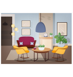 modern interior of living room with comfortable vector image vector image