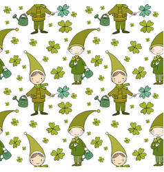 pattern with cute gnomes clover and watering vector image vector image