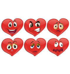 red hearts with facial expressions vector image vector image